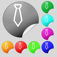 Tie icon sign Set of eight multi colored round vector image