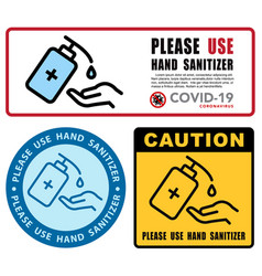 use hand sanitizer sign content - please use vector image