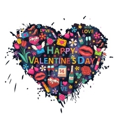 valentines day set on heart vector image