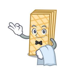 Waiter waffle mascot cartoon style vector