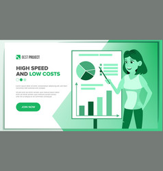 Web page business landing responsive vector