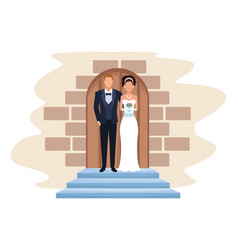 Wedding couple in chapel door vector