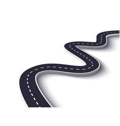 Winding road on a white isolated background road vector