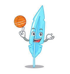 With basketball feather character cartoon style vector
