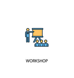 Workshop concept 2 colored line icon simple vector