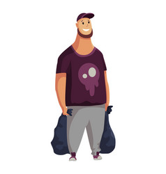 Young man with two packages garbage collection vector