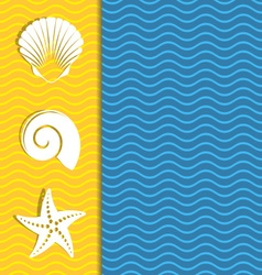 Card with sea icons vector image