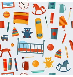 Children Bedroom Seamless Pattern with Toys vector image
