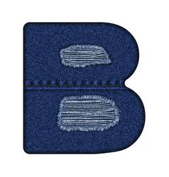 jeans letter b denim alphabet vector image