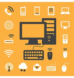 Mobile devices computer and network connections i vector image