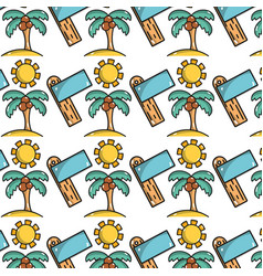 palm with coconut and sun with surfboard vector image vector image