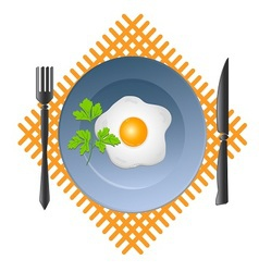 Scrambled egg in a bowl with a fork and knife vector image vector image