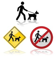 Dog on a leash vector image