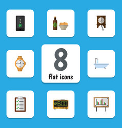 flat icon lifestyle set of clock beer with chips vector image