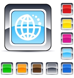 Planet square button vector image