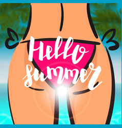 summer time card sexy woman pink bikini vector image vector image