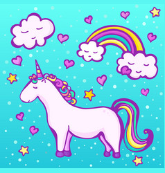 sweet unicorn on a blue background vector image vector image
