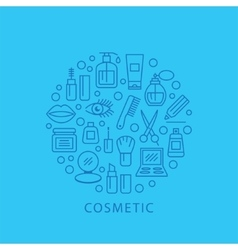 Cosmetics with icons and signs vector image