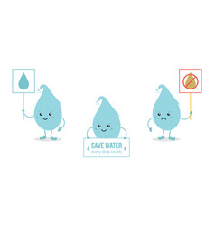 set of cartoon doodle water drop characters vector image