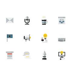 social media flat color icons set vector image