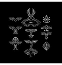 Vintage graphic elements geometric linear border vector