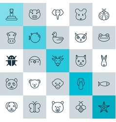 zoology icons set collection of bunny duck rat vector image vector image