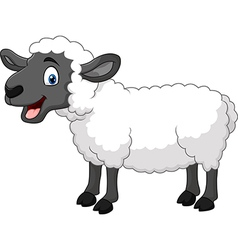 Cartoon happy sheep posing isolated vector image