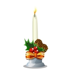 Christmas white burning candle holiday decoration vector image