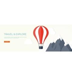 Flat air balloon Travel and explore vector image