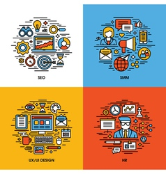 Flat line icons set of SEO SMM UI and UX design HR vector image vector image