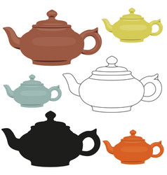 isolated ceramic teapots set abstract vector image vector image