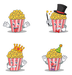 Set of popcorn character with crazy magician king vector