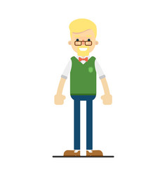 smiling blond student character in flat design vector image