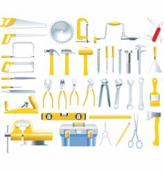 woodworker tools icon set vector image vector image
