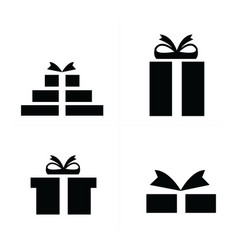4 style set black gift icons vector image