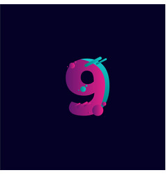 9 years anniversary celebration gradient purple vector