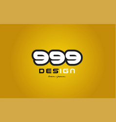 999 number numeral digit white on yellow vector