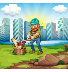 A man chopping woods across tall buildings vector