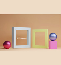 abstract scene with frames cube and spheres vector image