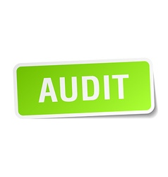 Audit green square sticker on white background vector