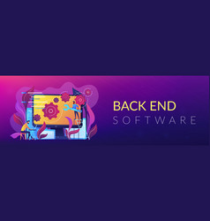 Back end development it header or footer banner vector