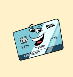 bank card cute smiley face character vector image