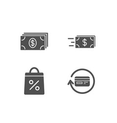banking shopping bag and money transfer icons vector image