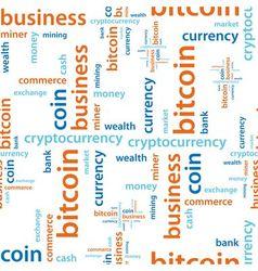 bitcoin text seamless pattern vector image