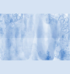 blue grunge watercolor background with doodle vector image