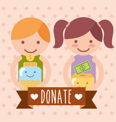 boy and girl with box and jar coins donate charity vector image