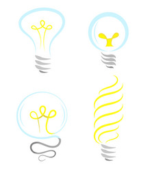 bulb icon set isolated on white background vector image