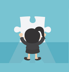 business woman making a puzzle vector image