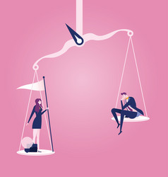 Businessman and businesswoman on scales vector