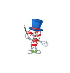 Cartoon character christmas candy cane magician vector